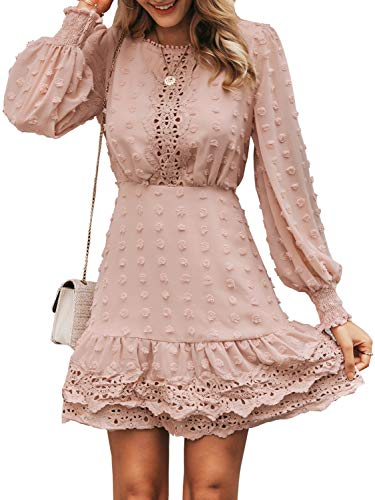 MsLure Women's Elegant Lace Chiffon Mini Dress Lantern Sleeve Ruffle Hem Party Dress (Large/8-10, Pink)