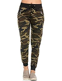Zipper Detail Drawstring Camouflage Jogger Pants
