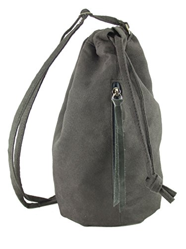LONI Backpack Handbag Drawstring Faux Suede Charcoal Grey