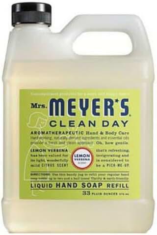 Mrs. Meyer's Clean Day Liquid Hand Soap Refill Lemon Verbena, 33 Fluid Ounce