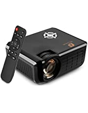 Video Projector, Houzetek 2500 Lumens Multimedia Home Theater Video Projector Support 1080P HDMI USB SD Card VGA AV for Home Cinema TV Laptop Game iPhone Andriod Smartphone with HDMI Cable