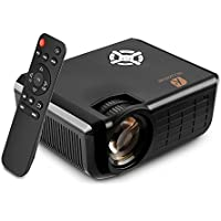 Portable Multimedia Home Theater Projector, Houzetek 1800 Lumens LED Video Projector for Cinema Movie Entertainment Games, Support 720P HDMI USB TF VGA AV LCD and Video Games, Black