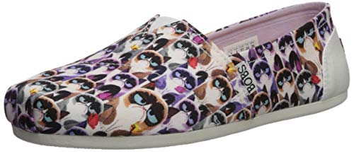 Skechers BOBS Women's Bobs Plush-Grumpy Cat Slip on Ballet Flat WMLT 6 M US