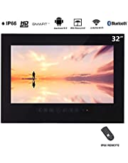 Haocrown 32 inch LED Smart TV for Bathroom IP66 Waterproof Android System Television with Wi-Fi(Black)