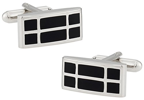 Cuff-Daddy Rectangular Black Enamel Cufflinks with Presentation - Cufflinks Rectangular
