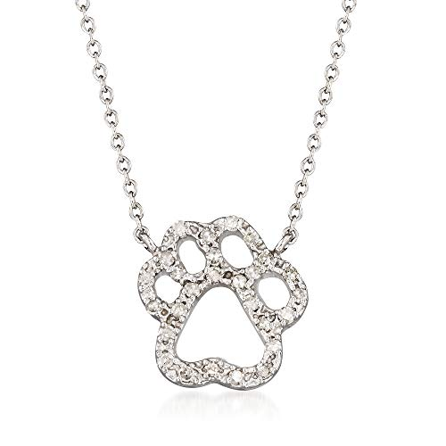(Ross-Simons 0.23 ct. t.w. Diamond Pawprint Necklace in 14kt White Gold)