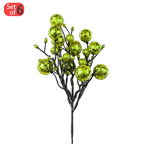KI Store Christmas Berry Picks Decorations Artificial Glittered Berries Stems Crafts Tree Decoration Ornaments for Xmas Tree Wedding Centerpiece Pack of 6 (Green)