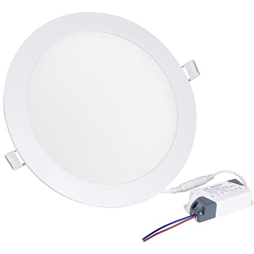 Yescom 18W Round Flat Panel Light, 6000K, 1800 Lm, LED Recessed Panel Down Light Office Commercial Lighting, 20 - 18 Panel Round