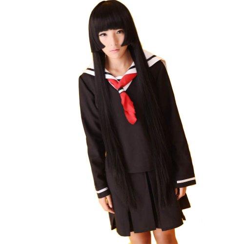 Jigoku Shoujo Cosplay Costumes (Jigoku Shoujo Hell Girl Enma Ai Sailor Dress Cosplay Costumes (XL))