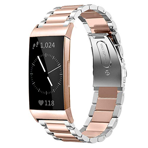 Shangpule Compatible for Fitbit Charge 3 Bands, Stainless Steel Metal Replacement Strap Bracelet Wrist Band Accessories for Charge 3 Smart Watch Women Man Large Small (Silver + Rose Gold)