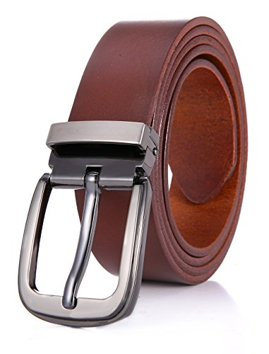 Marino Mens Belt, Full Grain Cow Leather Strap with Removable Buckle, Enclosed (Light Brown Leather Belt Strap)