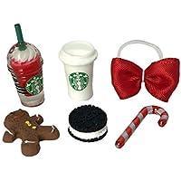 LPS Littlest Pet Shop 6 PC Christmas Food Bow Accessories Lot
