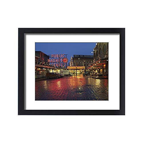 - Media Storehouse Framed 20x16 Print of WA, Seattle, Market Entrance at Pike Place Market Before Dawn (8154681)