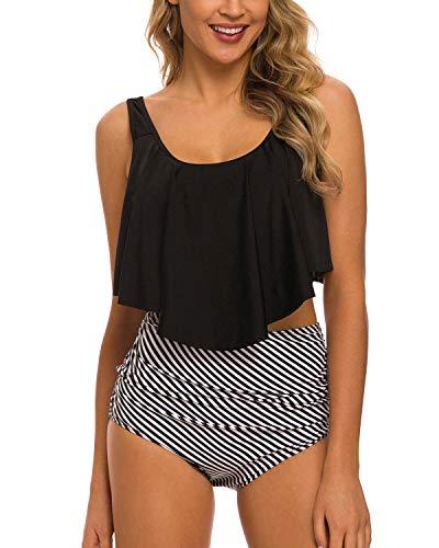 Coskaka Women's High Neck Two Piece Bathing Suits Top Ruffled High Waist Swimsuit Tankini Bikini Sets Black White XL
