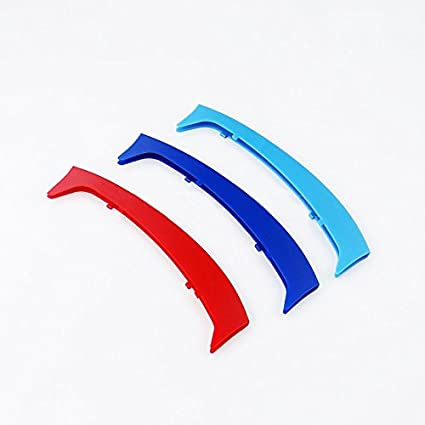 Longzhimei Fit for BMW 3 Series F30 F31 F35 2013-2017 M-Colored Front Grille Insert Trim Strips Grill Cover 3Pcs 8 Grilles