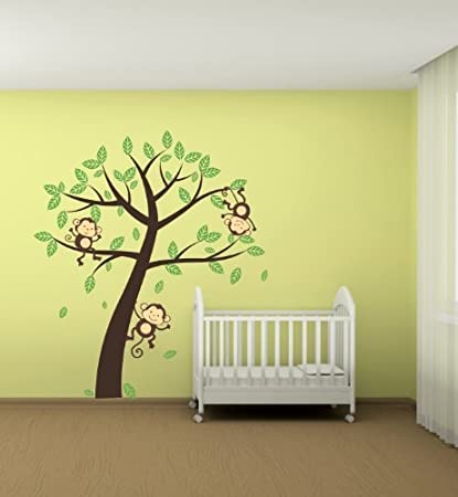 Grande Jungle Singe Arbre mur autocollant Art Decor de ...