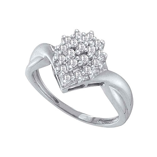 (10k White Gold Diamond Fashion Ring Cocktail Band Marquise Shaped Cluster Round Prong Set 1/4 ctw Size 7.5)