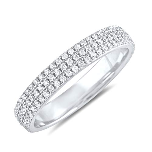 Sterling Silver Simulated Diamond Eternity Ring - Size 6