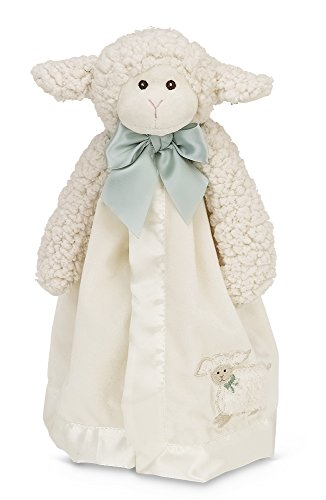 Bearington Baby Lamby Snuggler, Plush Lamb Security Blanket, Lovey (Cream) (Lamb Satin Blankets)