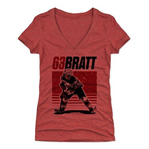 - 500 LEVEL Jesper Bratt Women's V-Neck Shirt (Large, Tri Red) - New Jersey Devils Shirt for Women - Jesper Bratt Starter R