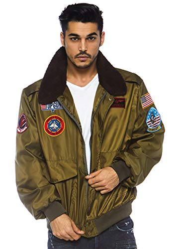 Mens Top Gun Licensed Bomber Jacket, Khaki - S to XL