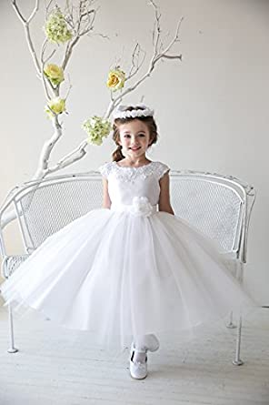 Amazon white satin embroidered lace and tulle skirt flower girl white satin embroidered lace and tulle skirt flower girl dress 12 mightylinksfo