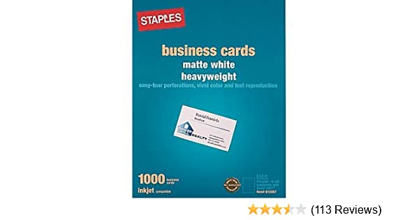 amazoncom staples inkjet business cards 2 x 3 12 matte white 1000 cards golf course gps units office products - Business Cards Cheap 12 For 1000