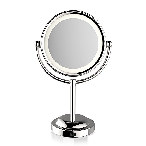 MQB LED Lighted Makeup Cosmetic Mirror 6 Inch 360 Degree Swivel Round Double-Sided 3X and 1X...