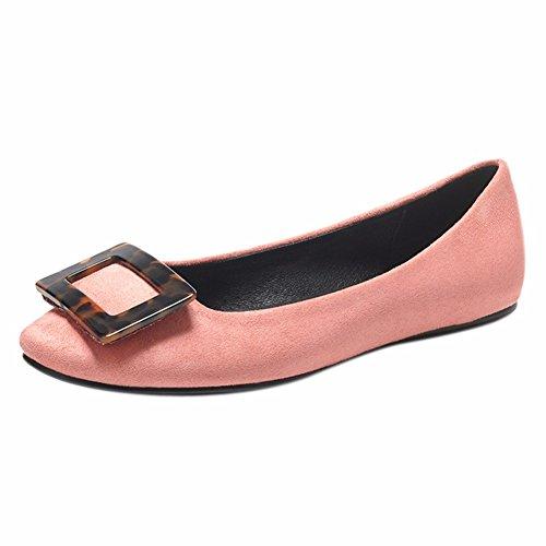Mujer Redonda Cabeza Zapato Slacker Superficial Única Zapatos del Fondo La Inferior Plano Pink YUCH fAxXwqI5w