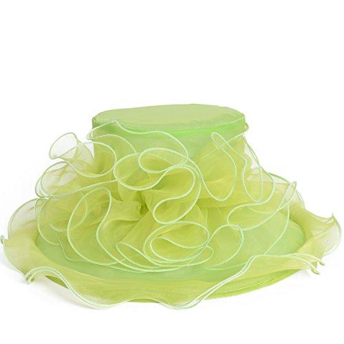 [Elegant Women Shower Organza Wide Brim Church Derby Kentucky Party Hat (S019-Fruit Green)] (Fruit Hat Lady)