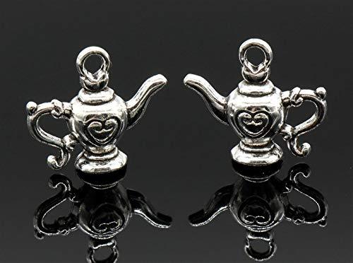 kakroz 4 Pcs Teapot Charms Kettle Charms Antique Silver Tone 3D 18x20mm - YD3071