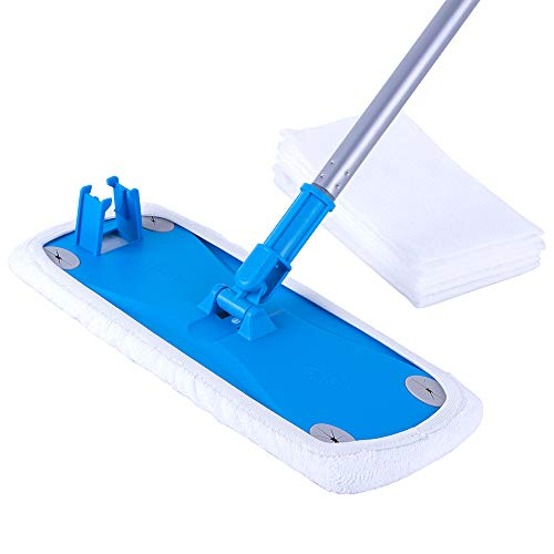 (MR. SIGA Wide Surface Microfiber Mop - Size: 38 x 14cm, 6 Free Dry Wipes Paper Included)