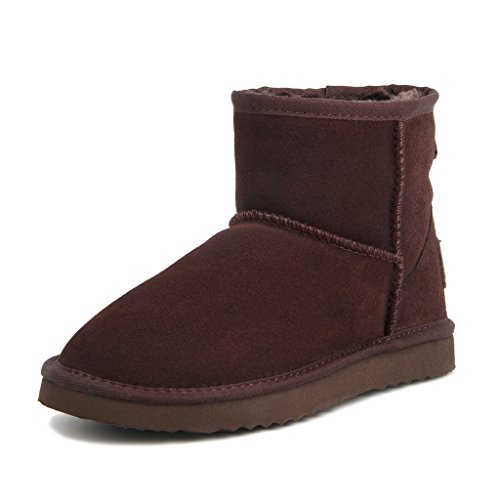Ausland Women's Water Resistant Classic Leather Short Snow Boots 5154 Chocolate 9.5US 40 Waterproof Classic Chukka
