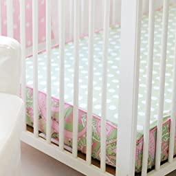 My Baby Sam Pixie Baby Bumper Less Crib Sheet, Pink and Green