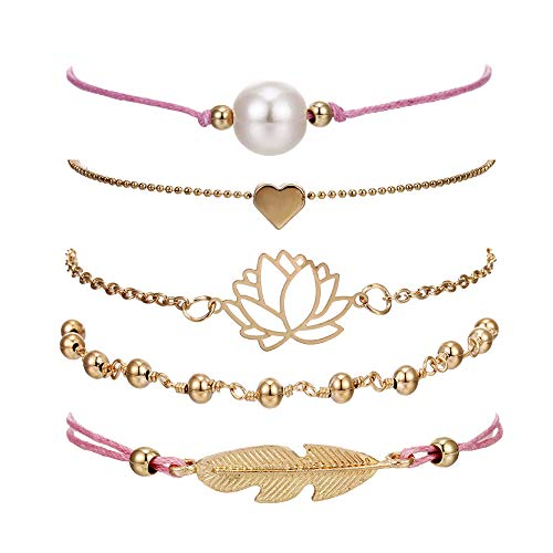 Bracelet Silver Stretch Plated Beaded (VONRU Beaded Bracelets for Women - Adjustable Charm Pendent Stack Bracelets for Women Girl Friendship Gift Rose Quartz Bracelet Links with Pearl Golds Plated 5pcs/Set (Feather & Lotus))