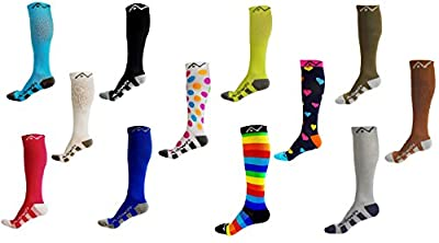 Compression Socks (1 pair) for Women & Men by A-Swift - Best For Running, Athletic Sports, Crossfit, Flight Travel - Suits Nurses, Maternity Pregnancy, Shin Splints - Below Knee High