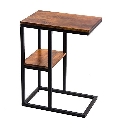 The Urban Port UPT-184808 Iron Framed Mango Wood Accent Table with Lower Shelf, - Room Desk Essentials