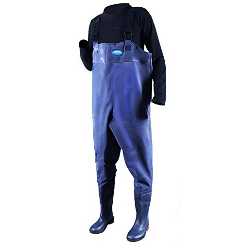 Waders Rubber - Hippodoctor Men's Fishing Chest Waders with Boots Waterproof Breathable Rubber Lightweight Anti-Slip Wading Overalls Pants with Inner Pocket Adjustable Shoulder Strap (Blue, Size 45=US 11)