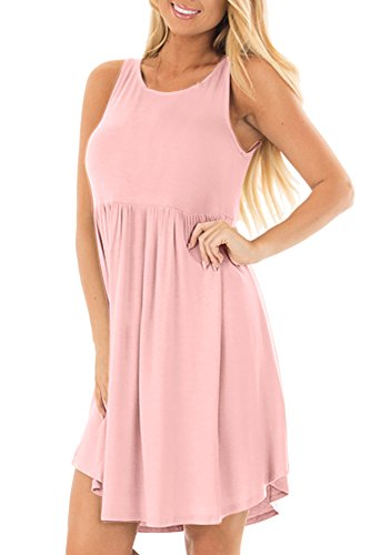 Spadehill Womens Summer Casual Sleeveless Sundress Loose Solid Color Swing Beach Dress with Pocket Tunic Dress Pink S -