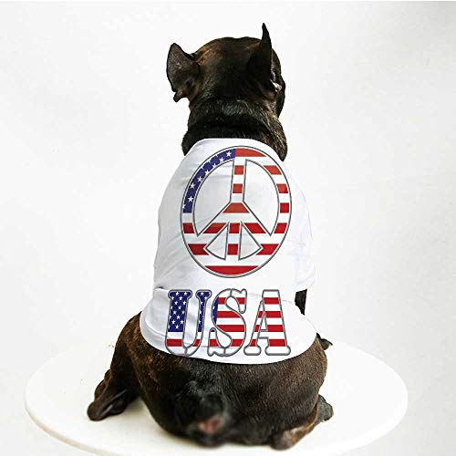 YOLIYANA Groovy Cute Pet Suit,Modern Peace Sign USA Flag Color Design Hippie Freedom No War Symbol Theme Decorative for Small Medium Large Size Dogs Cats,M