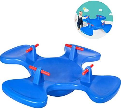 子供用シーソー、4人用シーソー回転椅子、屋内および屋外遊具のおもちゃ、子供用アクティビティセンター、運動用子供用バランス,ブルー