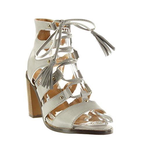 cm Mode Chaussure Spartiates Angkorly Bloc Bottine Sexy Gris Clouté Femme Pom 9 Haut 5 Pom Sandale Frange Talon wqda51a