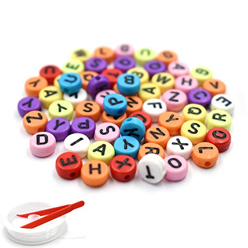 HZOnline Flat Acrylic Alphabet Letter Beads with Black Letters