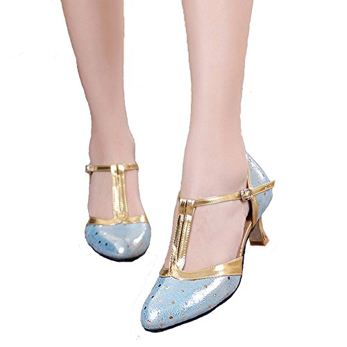 B 5 Shoes Women's Shoes Leather Dance Strap Party Latin US Blue 5 Ankle Dance Mary Jane Synthetic M T Honeystore RFT11
