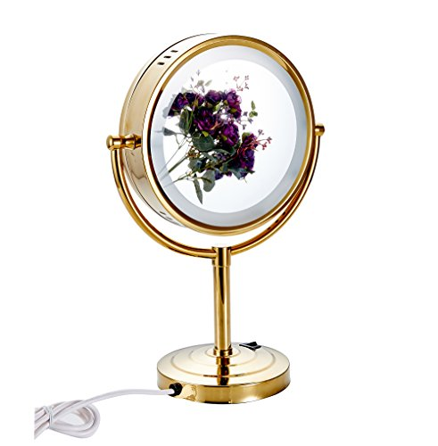 Cavoli 8.5 inch LED Makeup Mirror with 7x Magnification,Extendable Bathroom Mirror,Tabletop Two-sided,Gold Finish(8.5in,7x) by Cavoli (Image #5)