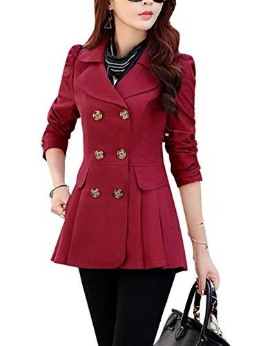 Lunga Double Tasche Bavero Cappotto Manica Rosso Anteriori Breasted Outwear Invernali Puro Stile Outerwear Abbigliamento Fit Donna Giacca Colore Slim Modern xfwvqXqZ4