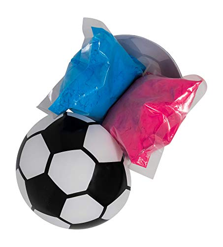 HelloBump Gender Reveal Exploding Soccer Ball Kit | Non-Toxic |Pink & Blue Powder | Party ()