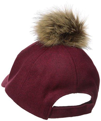 RAMPAGE Women's Winter Hat with Faux Fur Pom, Marsala, One Size