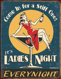 Moore Ladies Night Every Night Distressed Retro Vintage Tin Sign - 13x16 , 13x16
