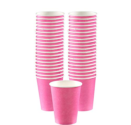 Big Party Pack Paper Coffee Cups | 12 oz.| Bright Pink| Pack of 40| Party -